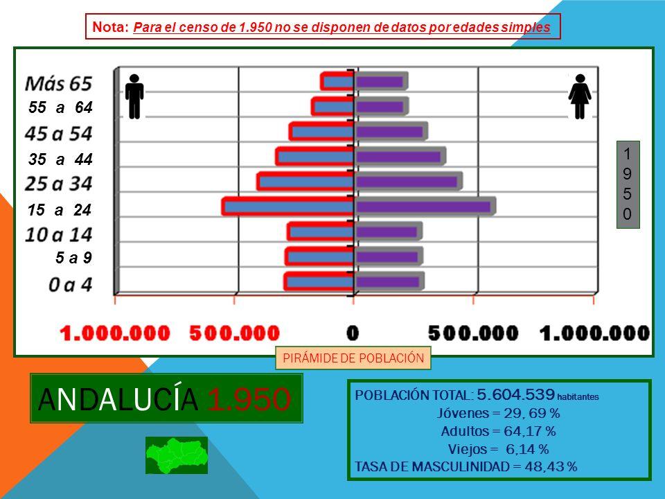 ANDALUCÍA 1.960 POBLACIÓN TOTAL: 5.864.693 habitantes Jóvenes = 30,82 % Adultos = 62,11 % Viejos = 7,07% TASA DE MASCULINIDAD = 48,75 % 19601960 PIRÁMIDE DE POBLACIÓN