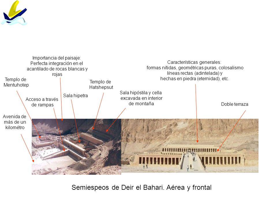 Gran espeo de Ramsés II Pilono en forma de talud excavado en la roca Estatuas colosales de Ramses II (más de veinte metros de altura) flanquean entrada Friso de 33 babuinos adorando al sol Estatuas de madre, esposas e hijos de Ramsés a menor escala Perfecta orientación hacia el este: El templo tiene una profundidad de 65 m.