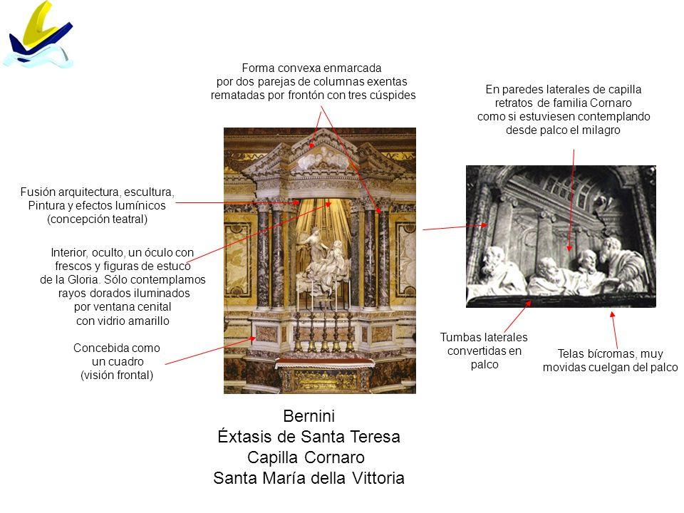 Bernini Éxtasis de Santa Teresa Capilla Cornaro Santa María della Vittoria Fusión arquitectura, escultura, Pintura y efectos lumínicos (concepción tea