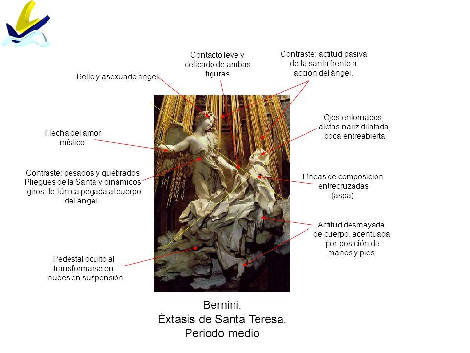 Bernini. Éxtasis de Santa Teresa. Periodo medio Líneas de composición entrecruzadas (aspa) Pedestal oculto al transformarse en nubes en suspensión Ojo
