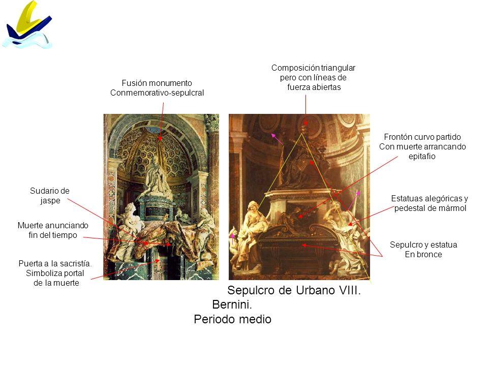 Bernini. Periodo medio Sepulcro y estatua En bronce Estatuas alegóricas y pedestal de mármol Composición triangular pero con líneas de fuerza abiertas