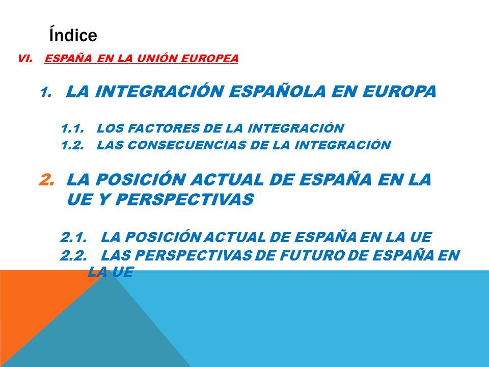 VI.ESPAÑA EN LA UNIÓN EUROPEA 1. LA INTEGRACIÓN ESPAÑOLA EN EUROPA 1.1. LOS FACTORES DE LA INTEGRACIÓN 1.2. LAS CONSECUENCIAS DE LA INTEGRACIÓN 2.LA P