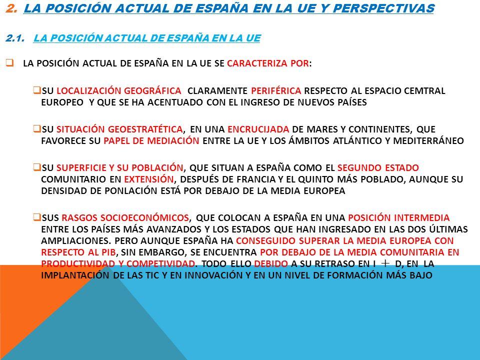2.LA POSICIÓN ACTUAL DE ESPAÑA EN LA UE Y PERSPECTIVAS 2.1. LA POSICIÓN ACTUAL DE ESPAÑA EN LA UE LA POSICIÓN ACTUAL DE ESPAÑA EN LA UE SE CARACTERIZA