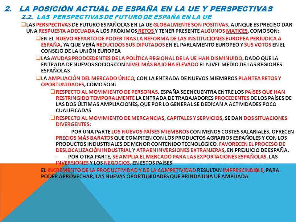 2. LA POSICIÓN ACTUAL DE ESPAÑA EN LA UE Y PERSPECTIVAS 2.2. LAS PERSPECTIVAS DE FUTURO DE ESPAÑA EN LA UE LAS PERSPECTIVAS DE FUTURO ESPAÑOLAS EN LA