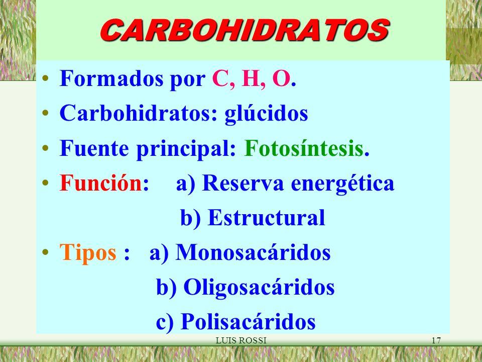 LUIS ROSSI17CARBOHIDRATOS Formados por C, H, O.