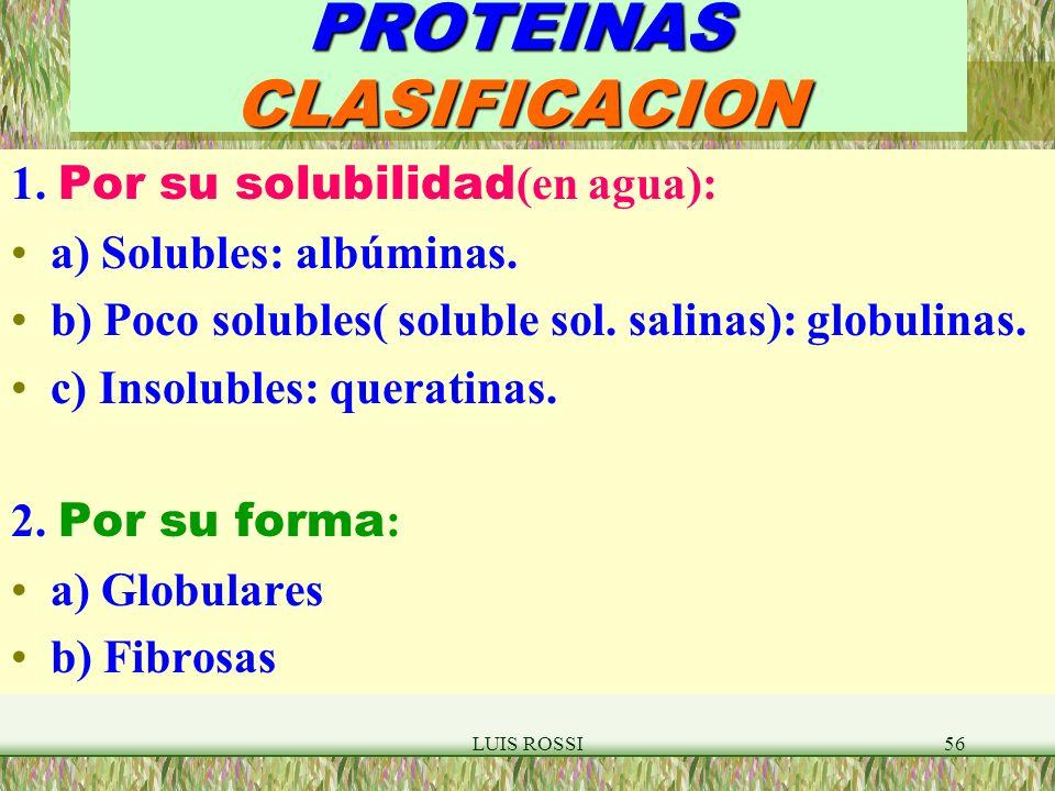 LUIS ROSSI56 PROTEINAS CLASIFICACION 1.Por su solubilidad (en agua): a) Solubles: albúminas.