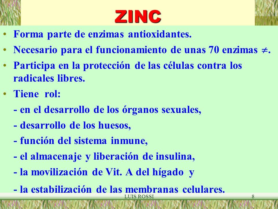LUIS ROSSI8ZINC Forma parte de enzimas antioxidantes.