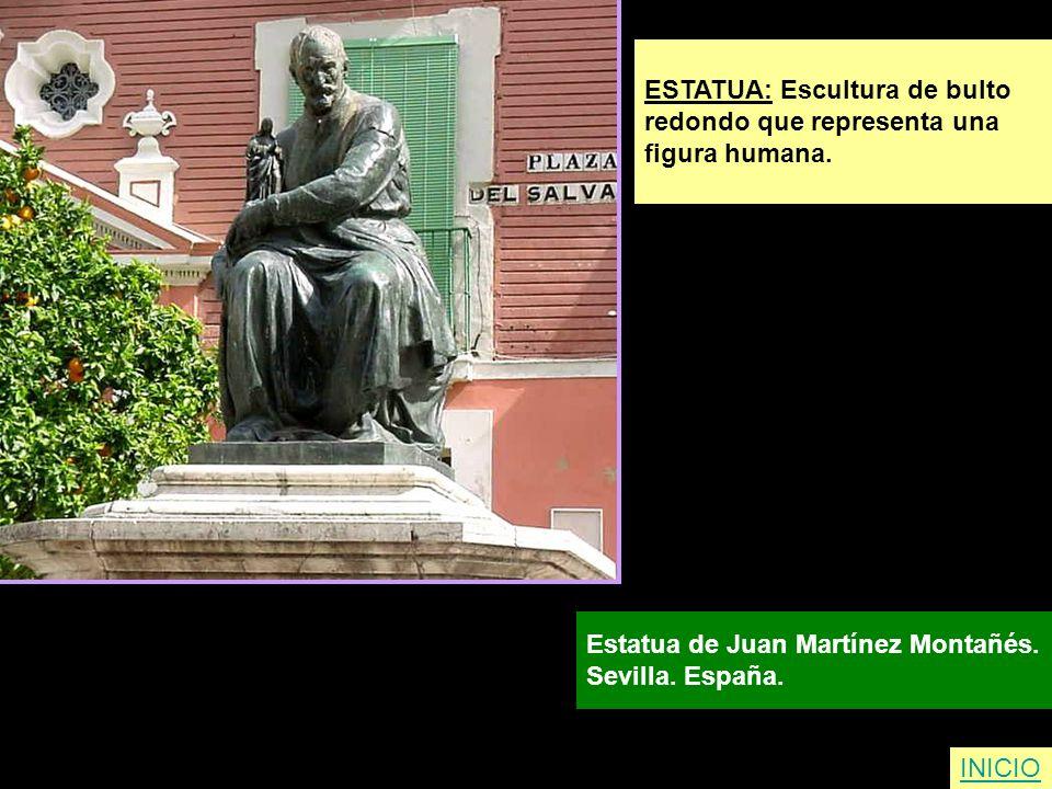 ESTATUA: Escultura de bulto redondo que representa una figura humana. Estatua de Juan Martínez Montañés. Sevilla. España. INICIO