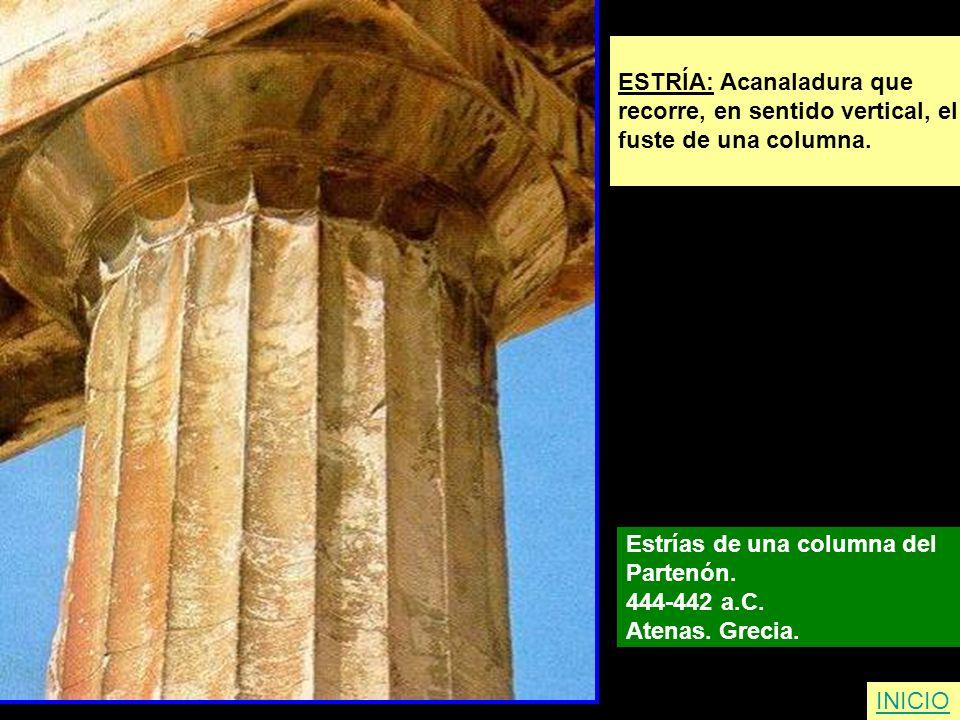 ESTRÍA: Acanaladura que recorre, en sentido vertical, el fuste de una columna. Estrías de una columna del Partenón. 444-442 a.C. Atenas. Grecia. INICI