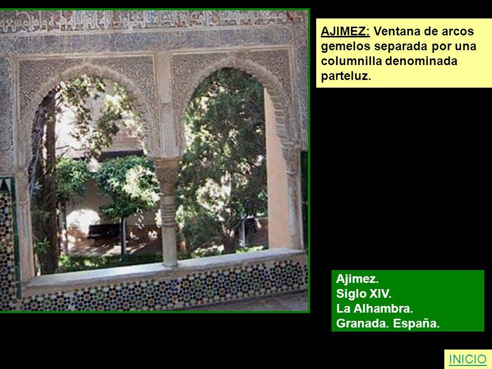 INICIO AJIMEZ: Ventana de arcos gemelos separada por una columnilla denominada parteluz. Ajimez. Siglo XIV. La Alhambra. Granada. España.