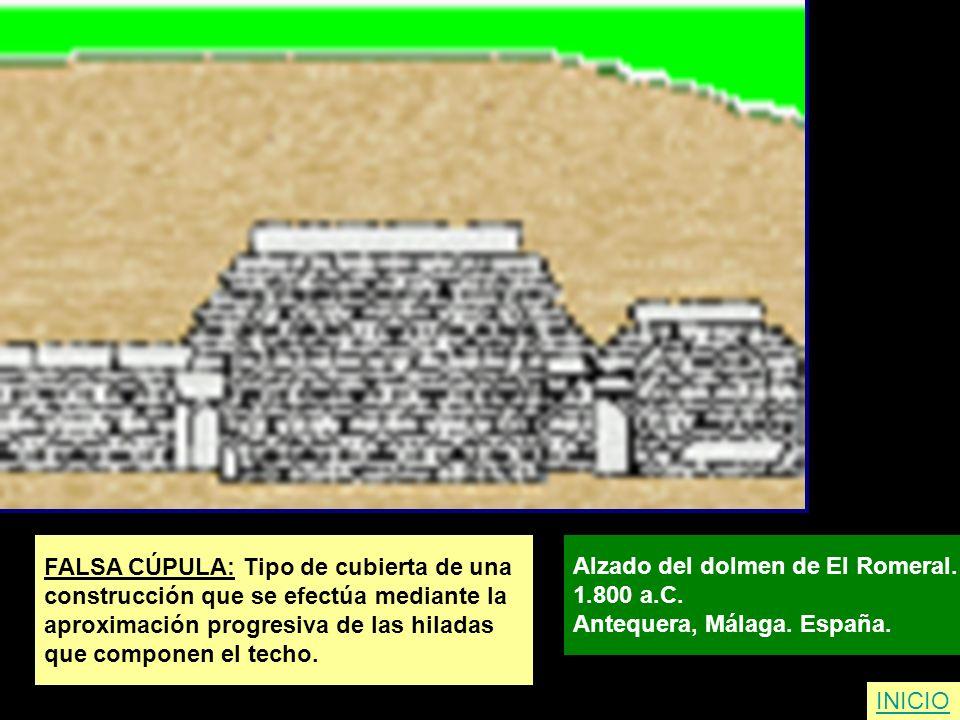 FALSA CÚPULA: Tipo de cubierta de una construcción que se efectúa mediante la aproximación progresiva de las hiladas que componen el techo. Alzado del