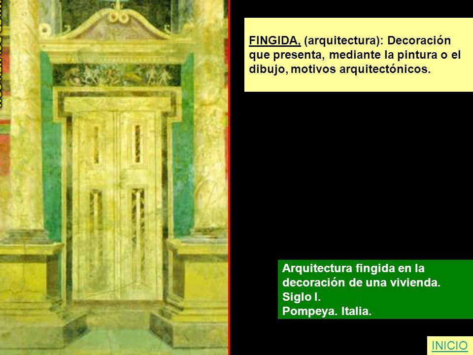 FINGIDA, (arquitectura): Decoración que presenta, mediante la pintura o el dibujo, motivos arquitectónicos. Arquitectura fingida en la decoración de u