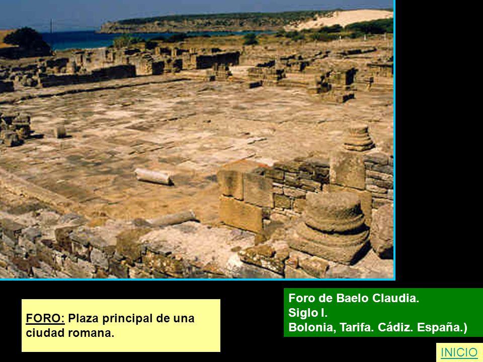 FORO: Plaza principal de una ciudad romana. Foro de Baelo Claudia. Siglo I. Bolonia, Tarifa. Cádiz. España.) INICIO