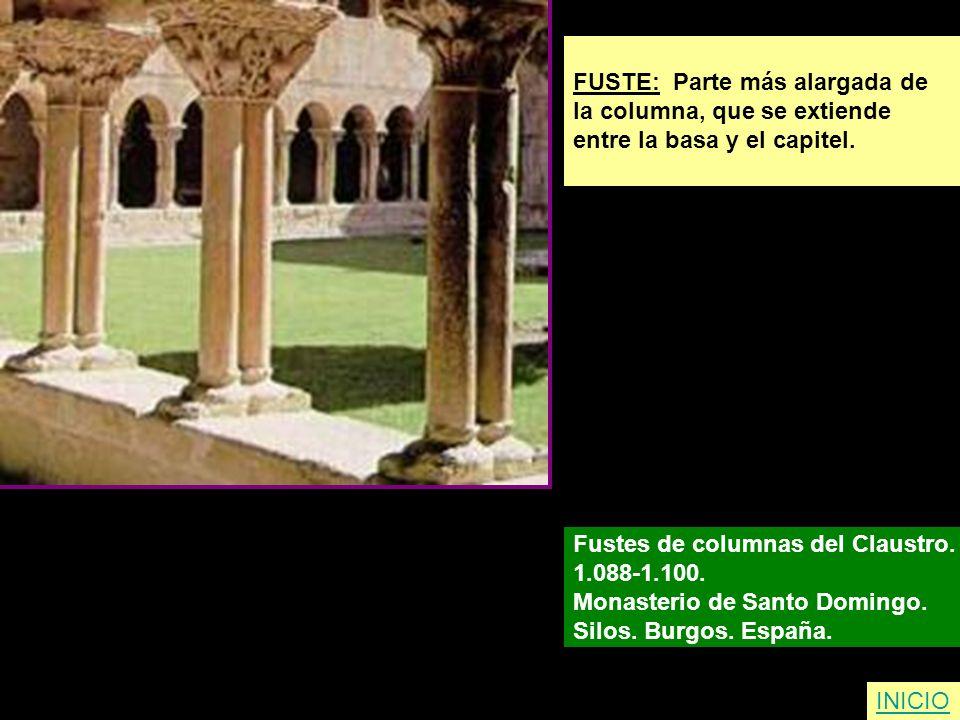 FUSTE: Parte más alargada de la columna, que se extiende entre la basa y el capitel. Fustes de columnas del Claustro. 1.088-1.100. Monasterio de Santo