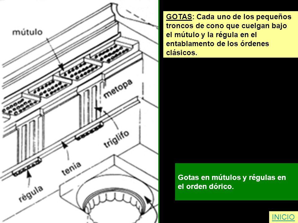 GOTAS: Cada uno de los pequeños troncos de cono que cuelgan bajo el mútulo y la régula en el entablamento de los órdenes clásicos. Gotas en mútulos y