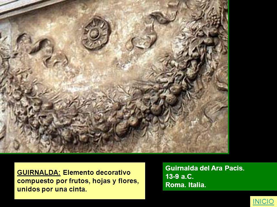 GUIRNALDA: Elemento decorativo compuesto por frutos, hojas y flores, unidos por una cinta. Guirnalda del Ara Pacis. 13-9 a.C. Roma. Italia. INICIO
