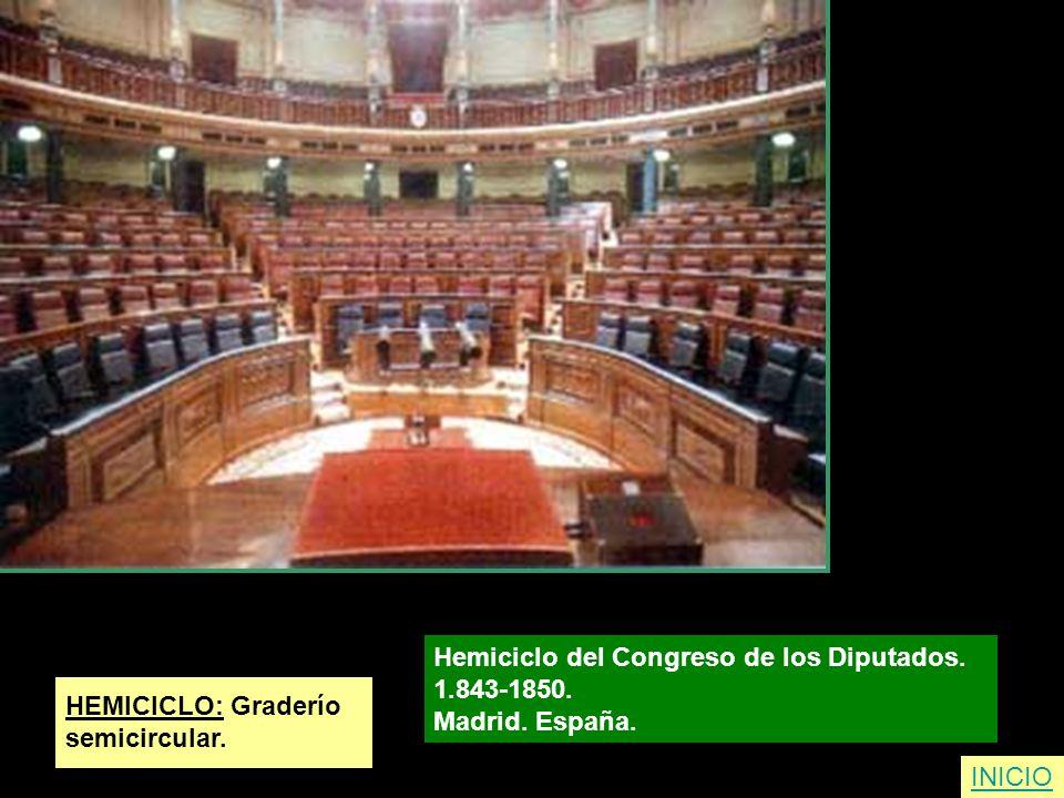 HEMICICLO: Graderío semicircular. Hemiciclo del Congreso de los Diputados. 1.843-1850. Madrid. España. INICIO