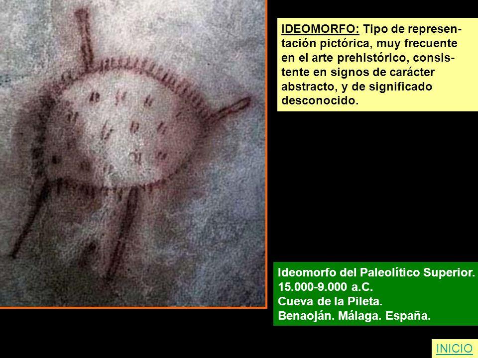 IDEOMORFO: Tipo de represen- tación pictórica, muy frecuente en el arte prehistórico, consis- tente en signos de carácter abstracto, y de significado
