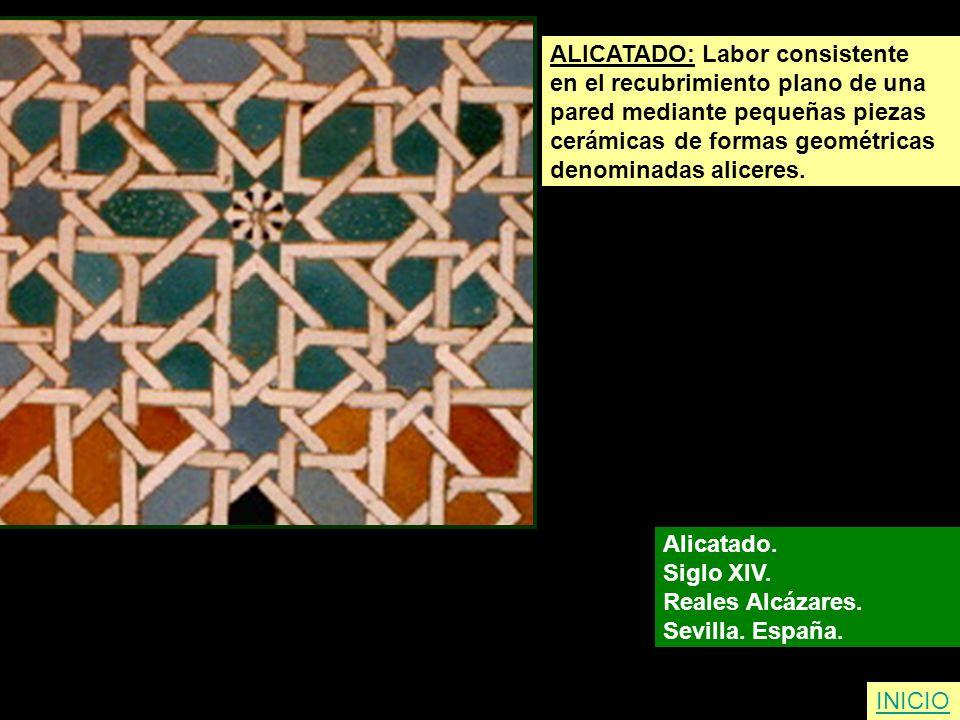 INICIO ALICATADO: Labor consistente en el recubrimiento plano de una pared mediante pequeñas piezas cerámicas de formas geométricas denominadas alicer
