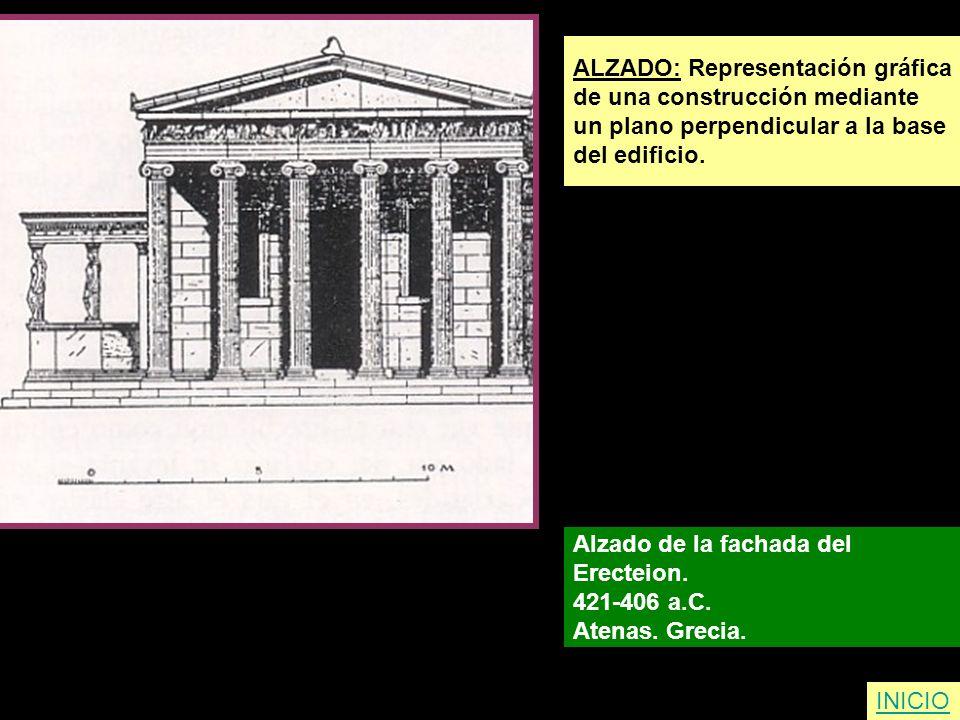 ALZADO: Representación gráfica de una construcción mediante un plano perpendicular a la base del edificio. Alzado de la fachada del Erecteion. 421-406