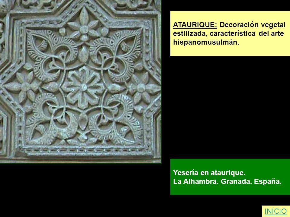 ATAURIQUE: Decoración vegetal estilizada, característica del arte hispanomusulmán. Yesería en ataurique. La Alhambra. Granada. España. INICIO