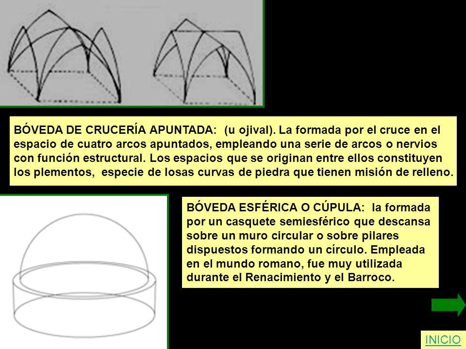 INICIO BÓVEDA DE CRUCERÍA APUNTADA: (u ojival). La formada por el cruce en el espacio de cuatro arcos apuntados, empleando una serie de arcos o nervio