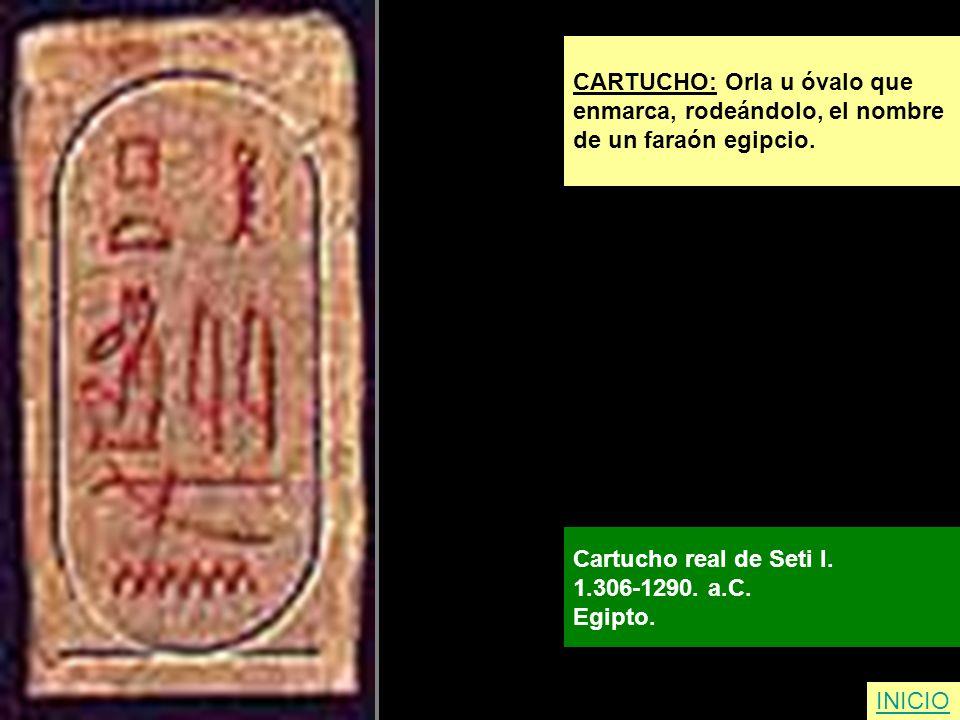 INICIO CARTUCHO: Orla u óvalo que enmarca, rodeándolo, el nombre de un faraón egipcio. Cartucho real de Seti I. 1.306-1290. a.C. Egipto.