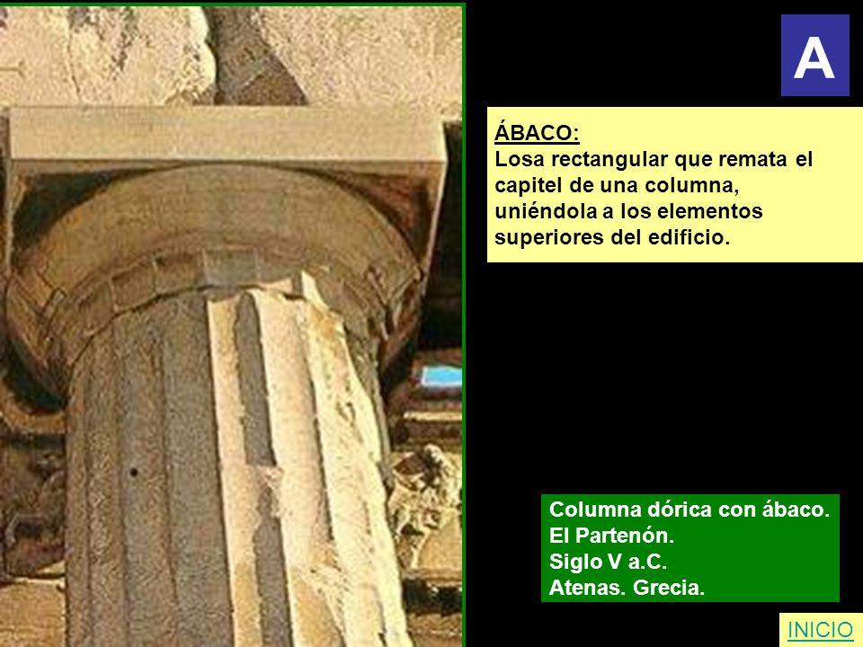 ÁBACO: Losa rectangular que remata el capitel de una columna, uniéndola a los elementos superiores del edificio. Columna dórica con ábaco. El Partenón