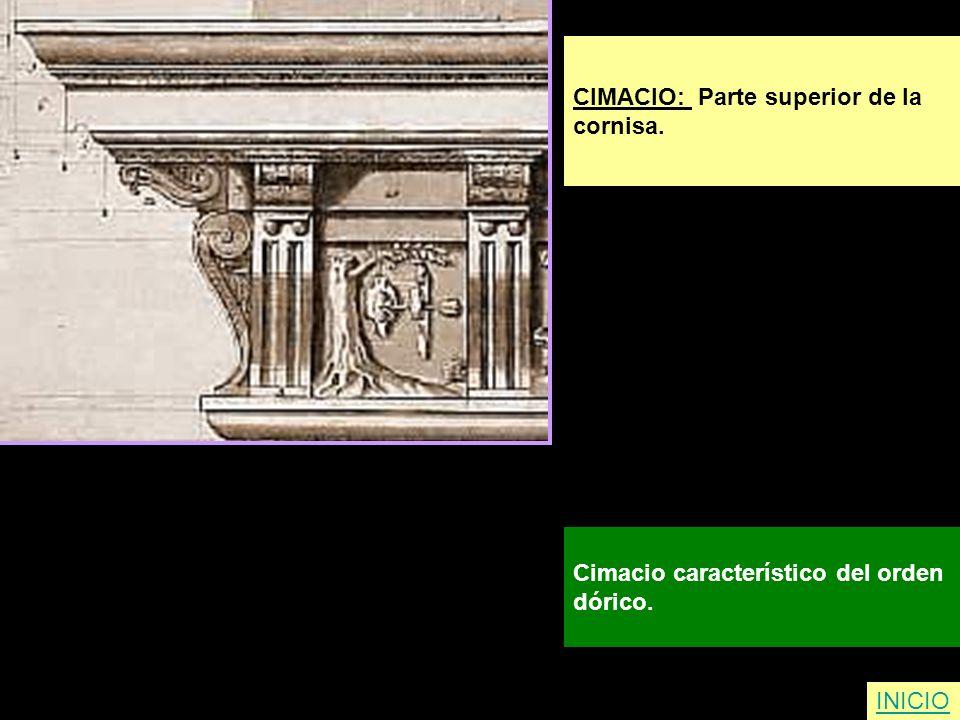 CIMACIO: Parte superior de la cornisa. Cimacio característico del orden dórico. INICIO
