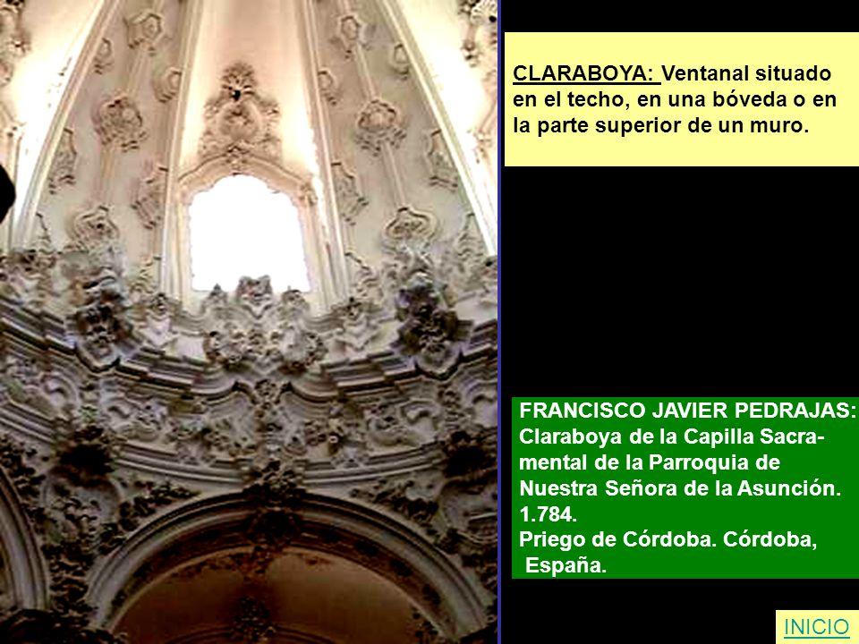 CLARABOYA: Ventanal situado en el techo, en una bóveda o en la parte superior de un muro. FRANCISCO JAVIER PEDRAJAS: Claraboya de la Capilla Sacra- me