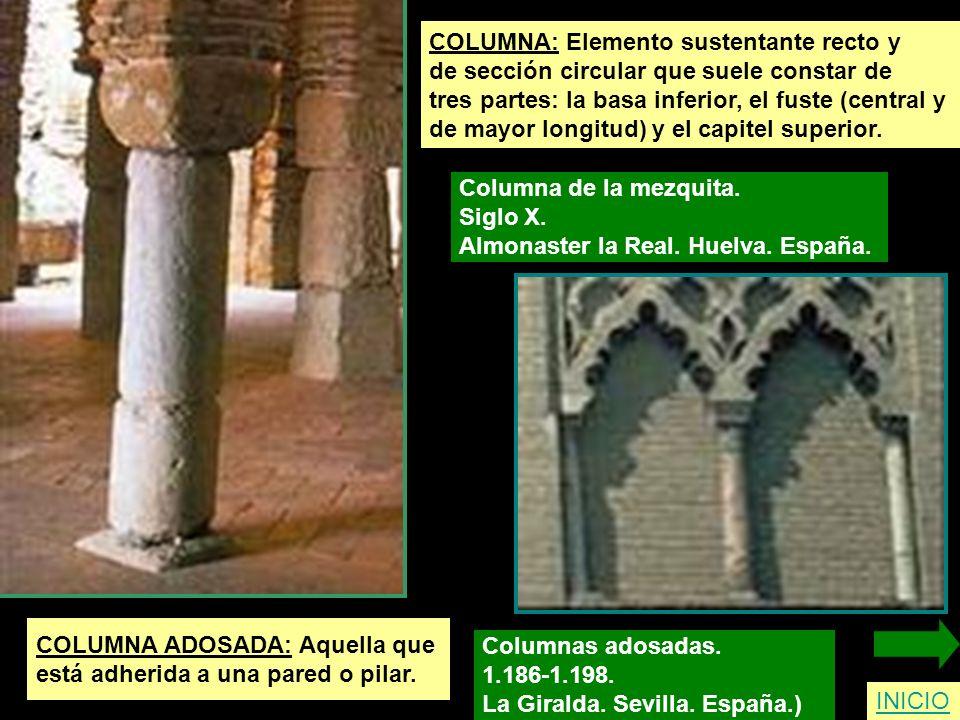 COLUMNA: Elemento sustentante recto y de sección circular que suele constar de tres partes: la basa inferior, el fuste (central y de mayor longitud) y