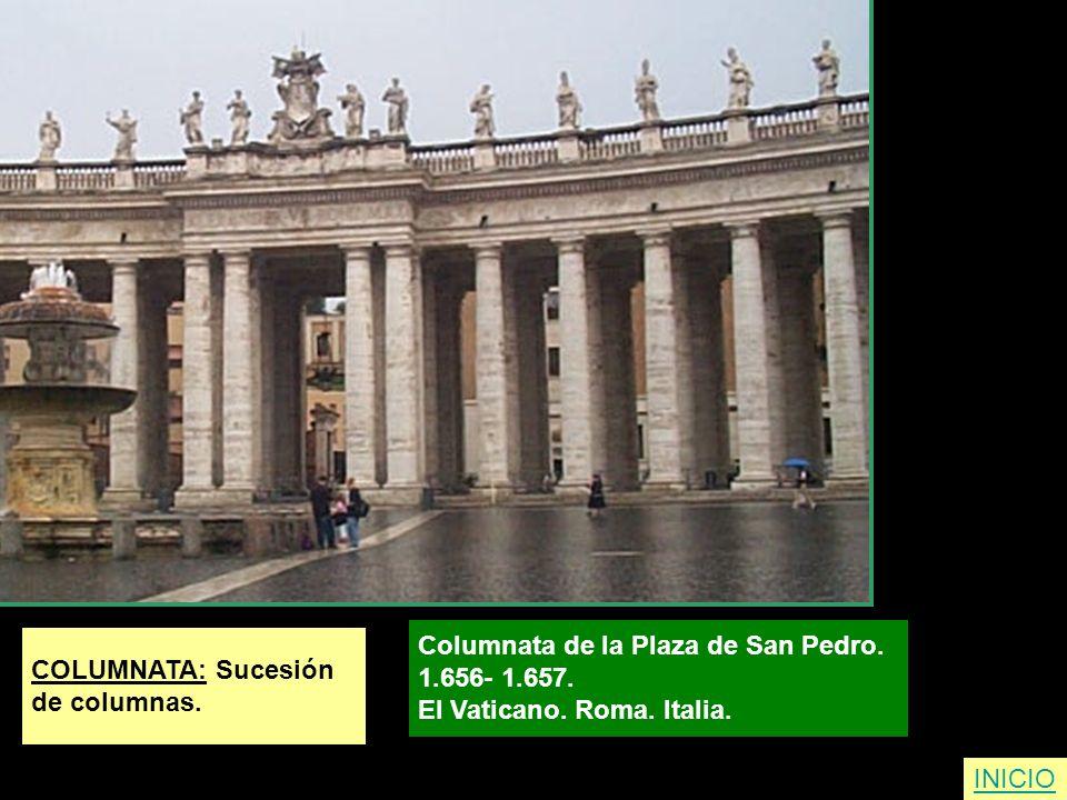 COLUMNATA: Sucesión de columnas. Columnata de la Plaza de San Pedro. 1.656- 1.657. El Vaticano. Roma. Italia. INICIO