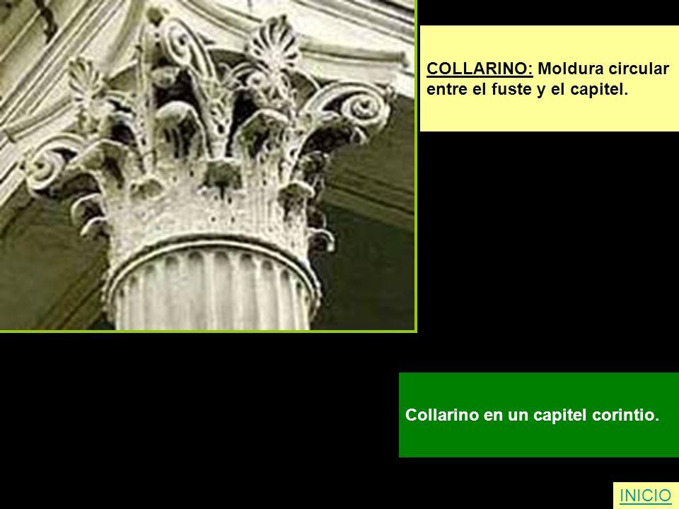 COLLARINO: Moldura circular entre el fuste y el capitel. Collarino en un capitel corintio. INICIO