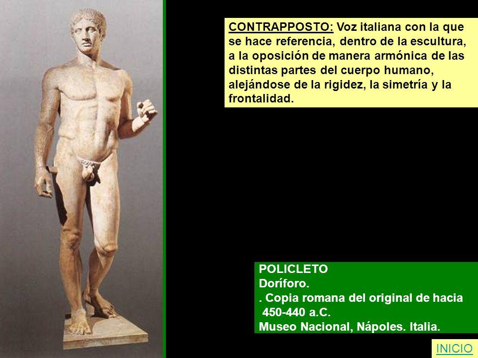CONTRAPPOSTO: Voz italiana con la que se hace referencia, dentro de la escultura, a la oposición de manera armónica de las distintas partes del cuerpo