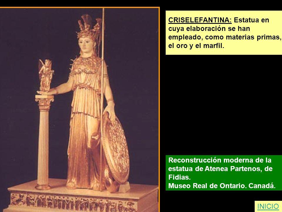 CRISELEFANTINA: Estatua en cuya elaboración se han empleado, como materias primas, el oro y el marfil. Reconstrucción moderna de la estatua de Atenea