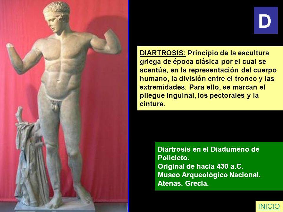 DIARTROSIS: Principio de la escultura griega de época clásica por el cual se acentúa, en la representación del cuerpo humano, la división entre el tro