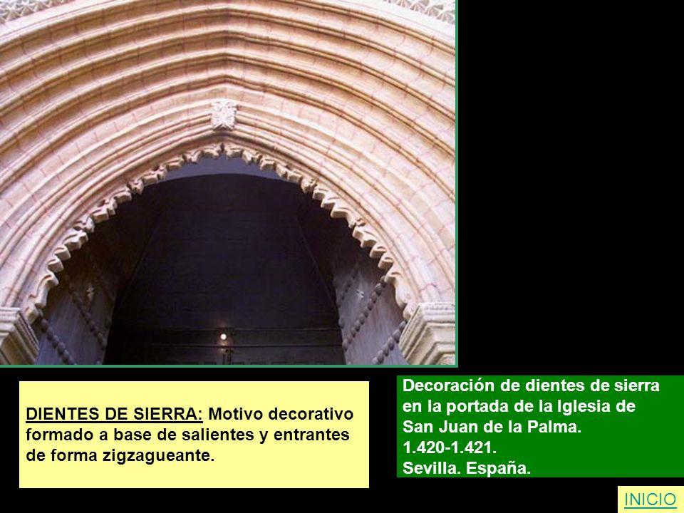 DIENTES DE SIERRA: Motivo decorativo formado a base de salientes y entrantes de forma zigzagueante. Decoración de dientes de sierra en la portada de l