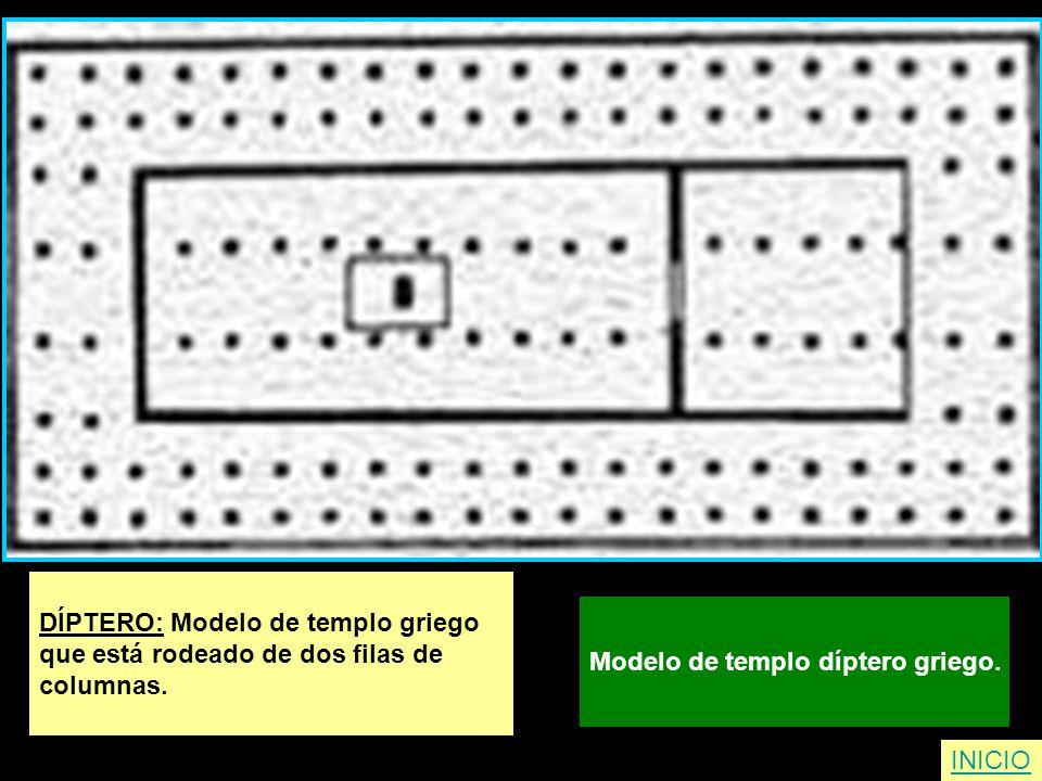 DÍPTERO: Modelo de templo griego que está rodeado de dos filas de columnas. Modelo de templo díptero griego. INICIO