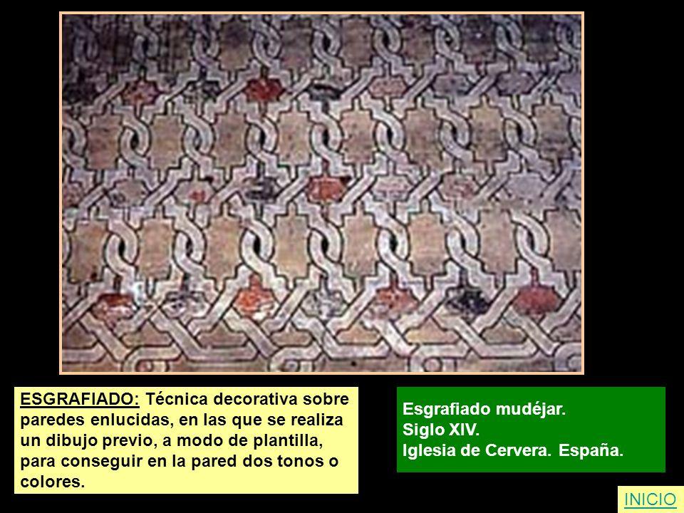 ESGRAFIADO: Técnica decorativa sobre paredes enlucidas, en las que se realiza un dibujo previo, a modo de plantilla, para conseguir en la pared dos to