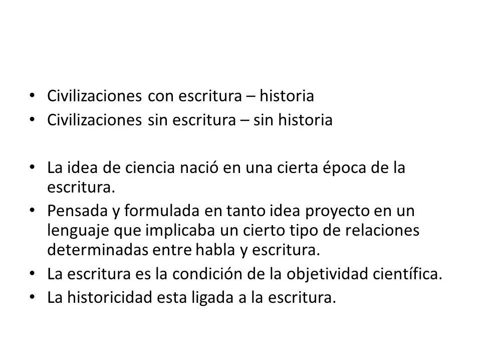 Civilizaciones con escritura – historia Civilizaciones sin escritura – sin historia La idea de ciencia nació en una cierta época de la escritura. Pens