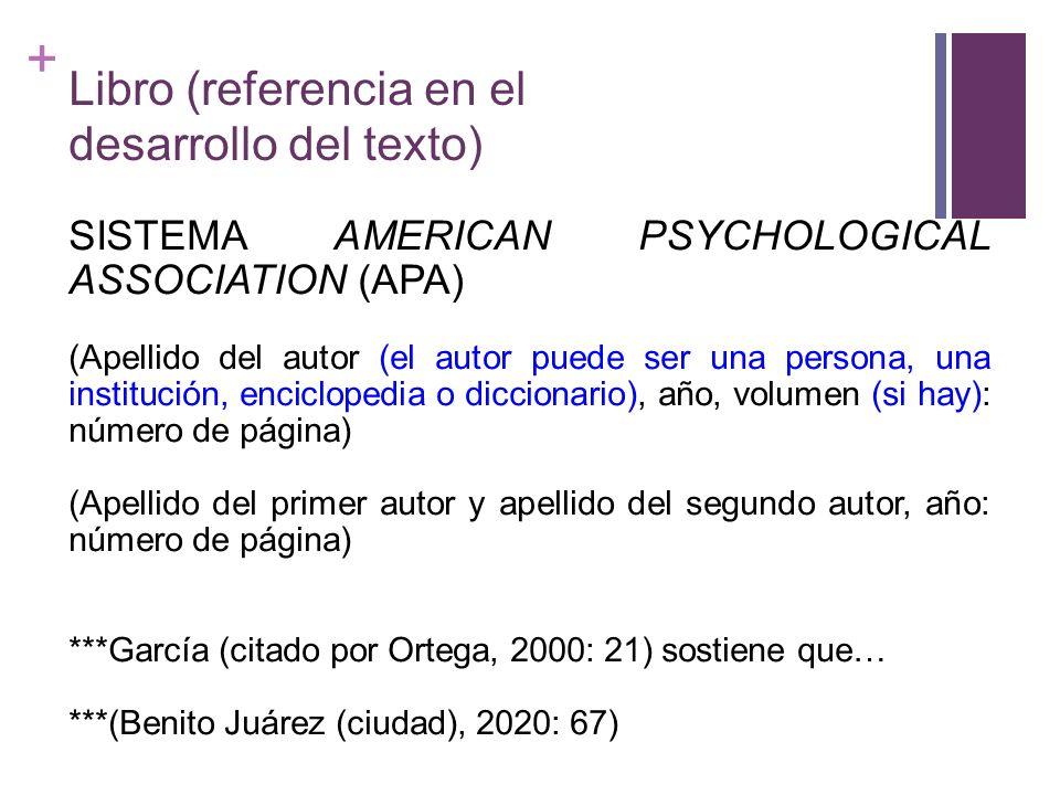 + Libro (referencia en el desarrollo del texto) SISTEMA AMERICAN PSYCHOLOGICAL ASSOCIATION (APA) (Apellido del autor (el autor puede ser una persona,