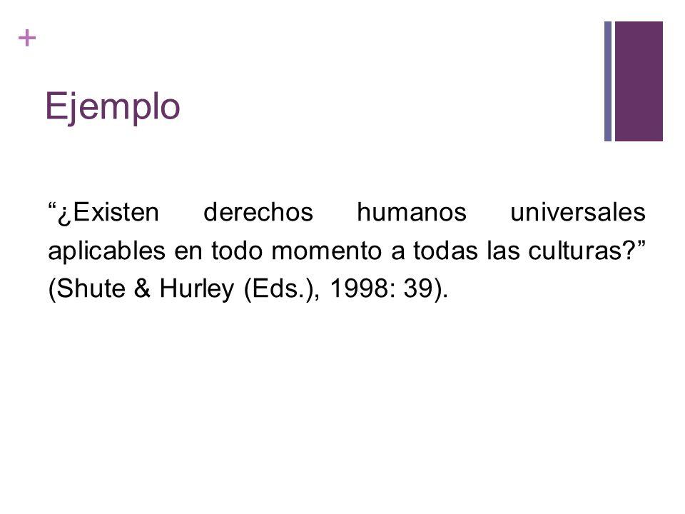 + Ejemplo ¿Existen derechos humanos universales aplicables en todo momento a todas las culturas? (Shute & Hurley (Eds.), 1998: 39).