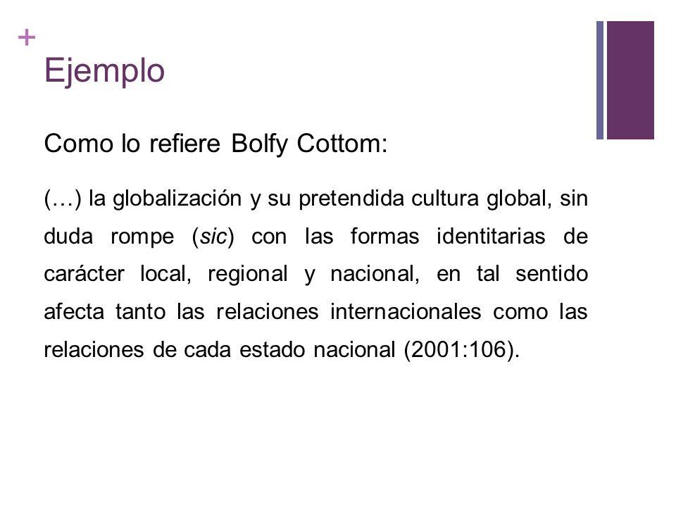 + Ejemplo Como lo refiere Bolfy Cottom: (…) la globalización y su pretendida cultura global, sin duda rompe (sic) con las formas identitarias de carác