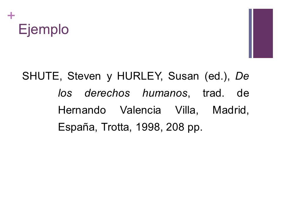 + Ejemplo SHUTE, Steven y HURLEY, Susan (ed.), De los derechos humanos, trad. de Hernando Valencia Villa, Madrid, España, Trotta, 1998, 208 pp.