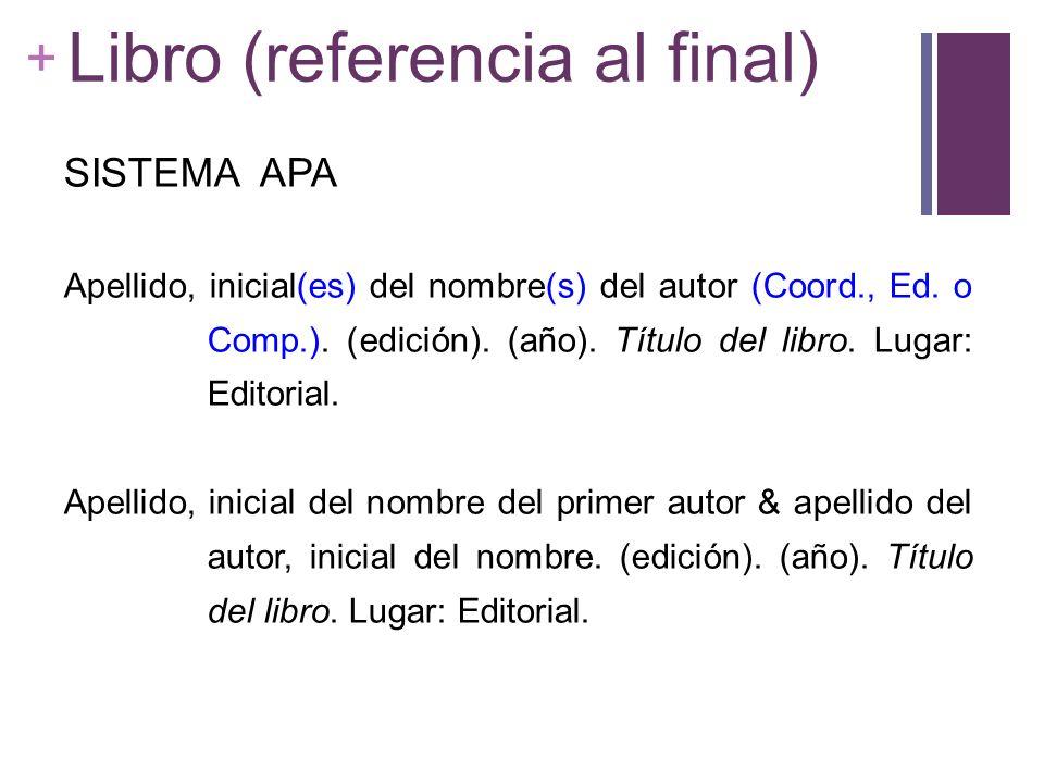 + Libro (referencia al final) SISTEMA APA Apellido, inicial(es) del nombre(s) del autor (Coord., Ed. o Comp.). (edición). (año). Título del libro. Lug