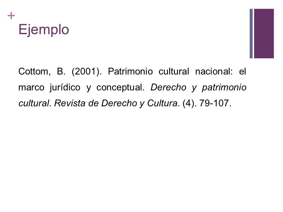 + Ejemplo Cottom, B. (2001). Patrimonio cultural nacional: el marco jurídico y conceptual. Derecho y patrimonio cultural. Revista de Derecho y Cultura