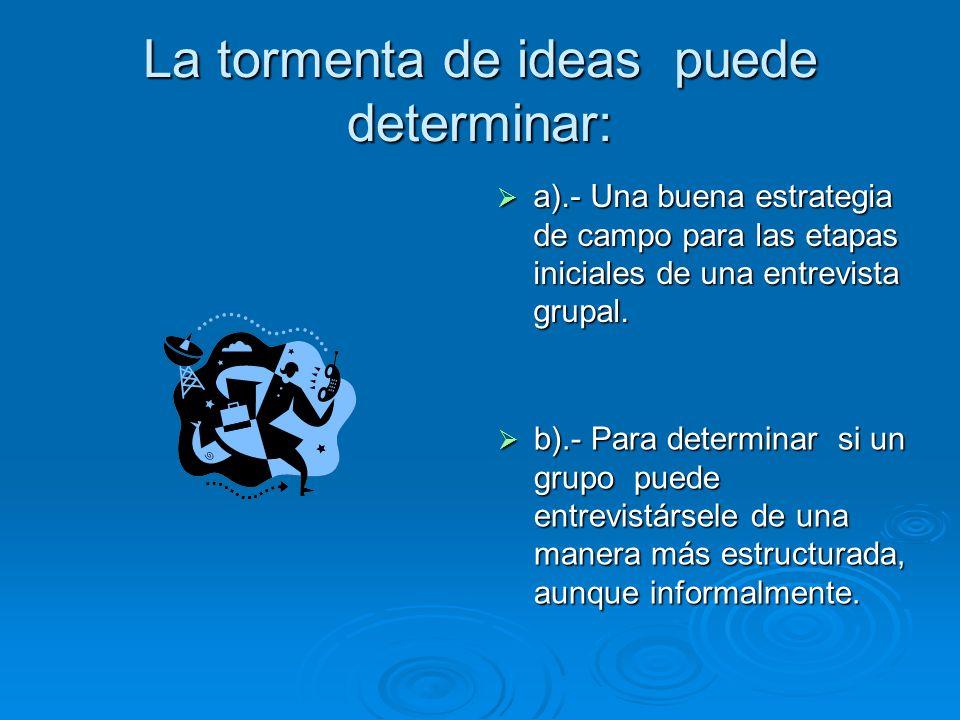 La tormenta de ideas puede determinar: a).- Una buena estrategia de campo para las etapas iniciales de una entrevista grupal. a).- Una buena estrategi