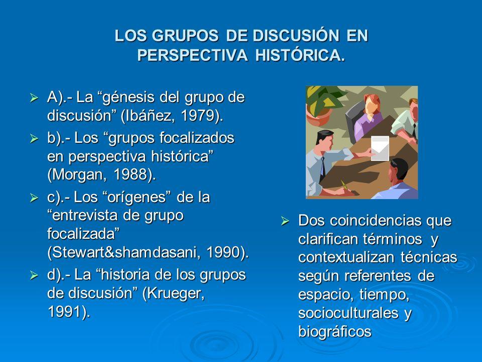 LOS GRUPOS DE DISCUSIÓN EN PERSPECTIVA HISTÓRICA. A).- La génesis del grupo de discusión (Ibáñez, 1979). A).- La génesis del grupo de discusión (Ibáñe