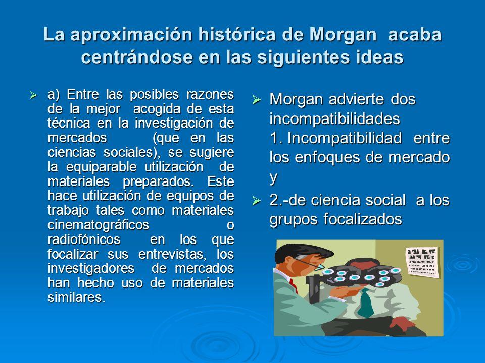 La aproximación histórica de Morgan acaba centrándose en las siguientes ideas a) Entre las posibles razones de la mejor acogida de esta técnica en la