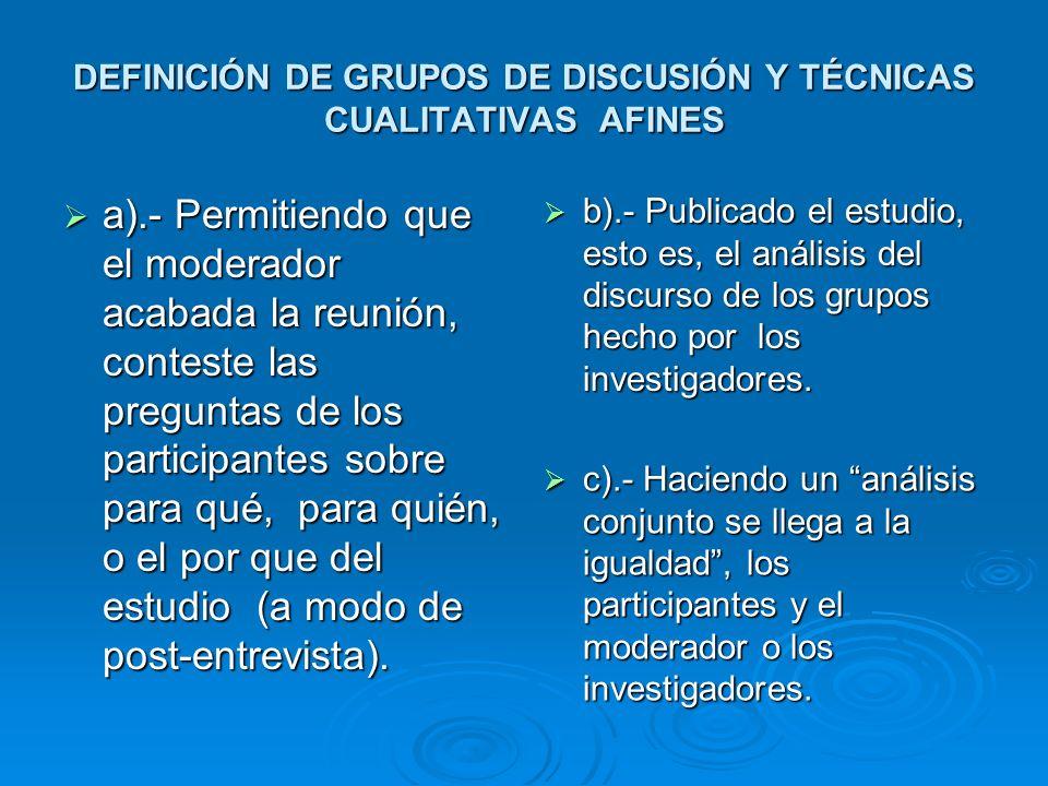 Diseño general de DGs, según el eje de heterogeneidad y saturación Otros grupos NUEVAS CLASES MEDIAS URBANAS NUEVAS CLASES MEDIAS URBANAS PEQUEÑA BURGUESIA URBANA CONSERVADORA PEQUEÑA BURGUESIA URBANA CONSERVADORA PROFESIONISTAS EJECUTIVOS MODERNOS PROFESIONISTAS EJECUTIVOS MODERNOS OBREROS INDUSTRIALES OBREROS INDUSTRIALES ESPOSAS DE OBREROS INDUSTRIALES ESPOSAS DE OBREROS INDUSTRIALES PEQUEÑA BURGUESIA RURAL PEQUEÑA BURGUESIA RURAL ACTUACIONES EN EL GRUPO ACTUACIONES EN EL GRUPO A).- Las del moderador A).- Las del moderador B).- La de las personas reunidas B).- La de las personas reunidas